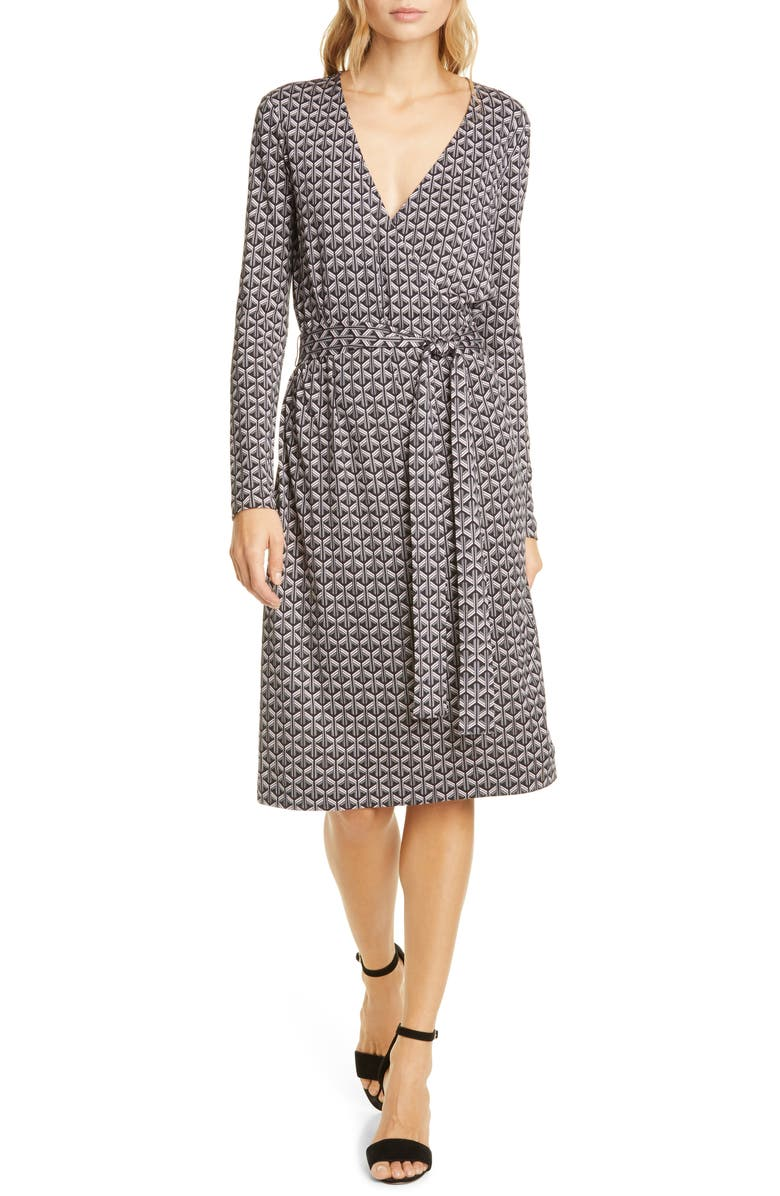 DVF Karis Geo Print Long Sleeve Faux Wrap Silk Dress, Main, color, GEO TILES BLACK