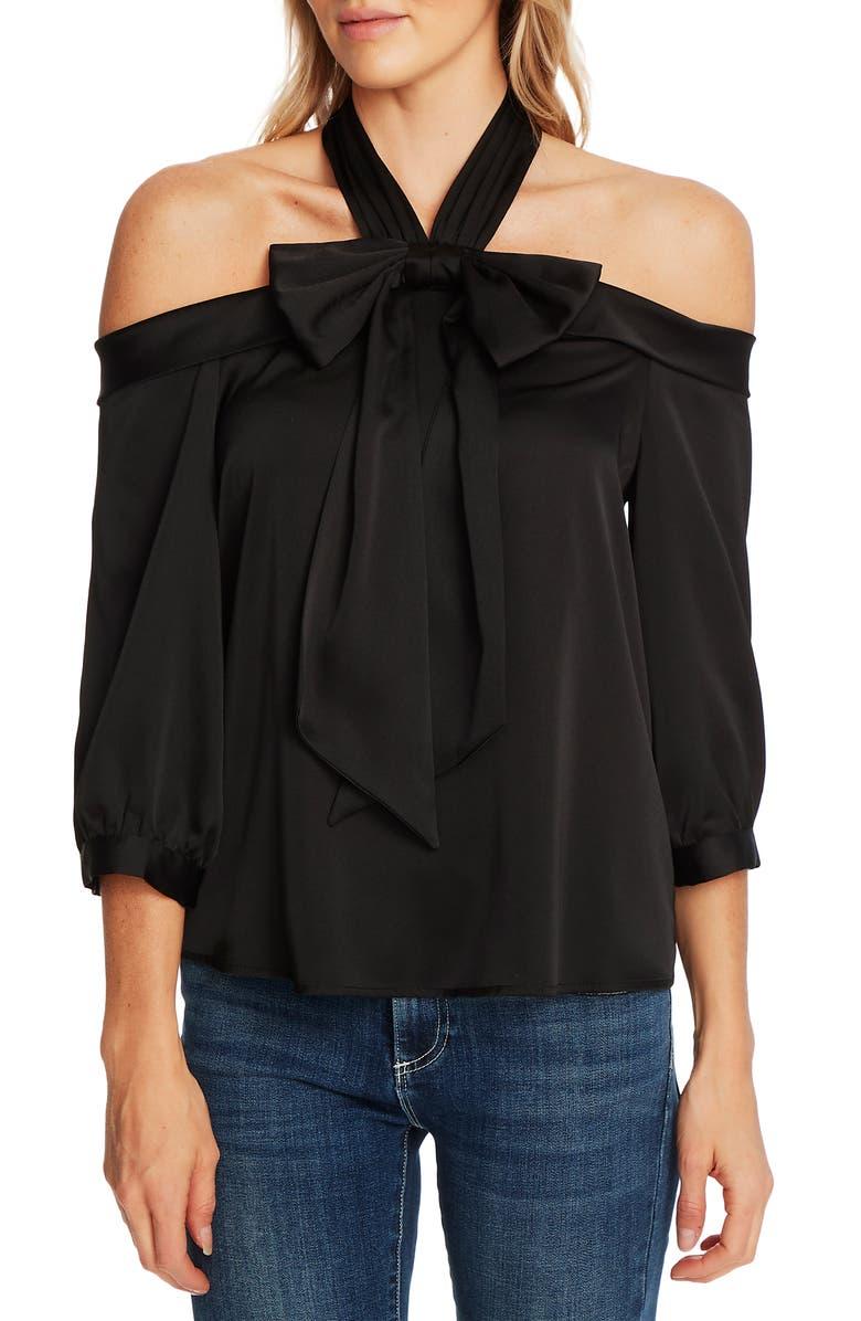 CECE Halter Neck Cold Shoulder Blouse, Main, color, RICH BLACK