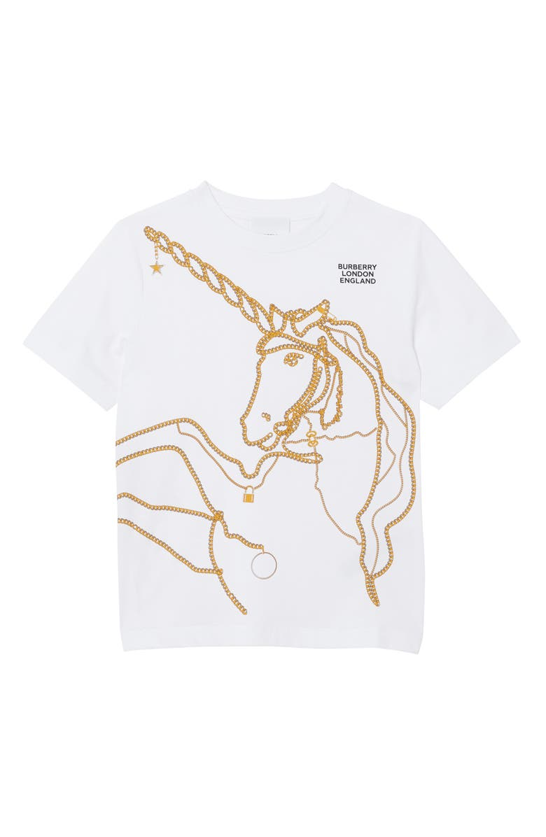 BURBERRY Unicorn Chain Graphic Tee, Main, color, WHITE
