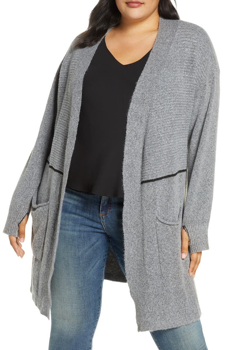 WIT & WISDOM Long Cardigan with Thumbhole Cuffs, Main, color, HEATHER GREY