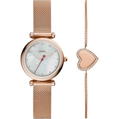 Fossil Carlie Mini Love Mesh Strap Watch & Heart Bracelet Set