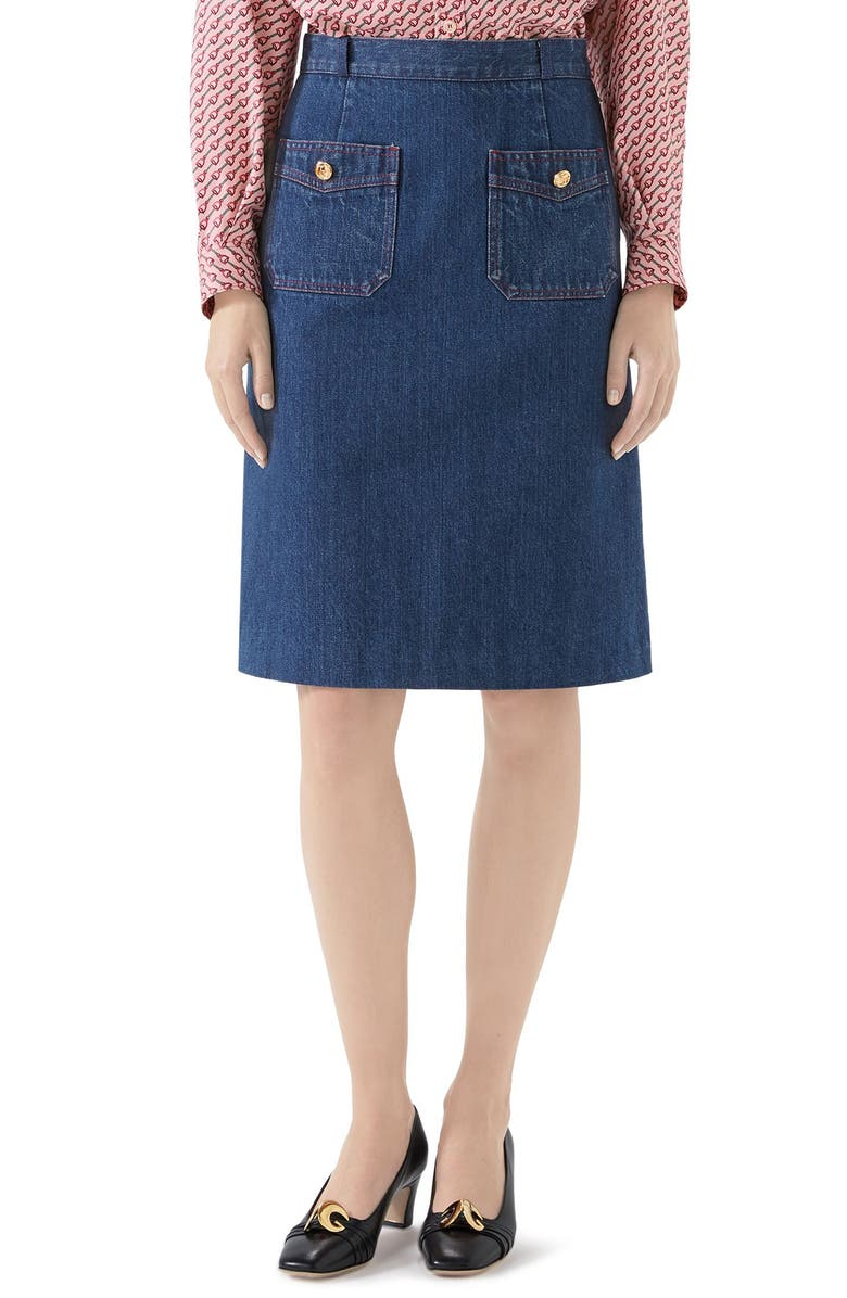 GUCCI Denim Skirt, Main, color, DARK BLUE