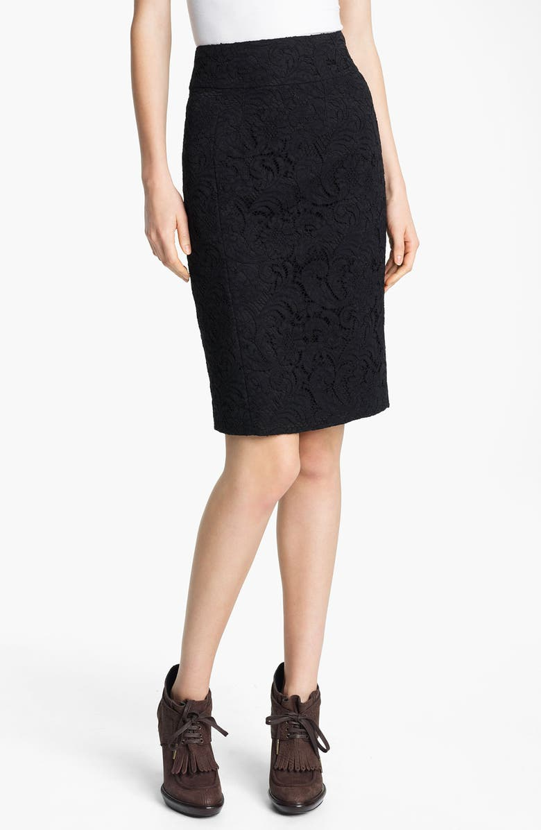 BURBERRY LONDON Lace Pencil Skirt, Main, color, 001