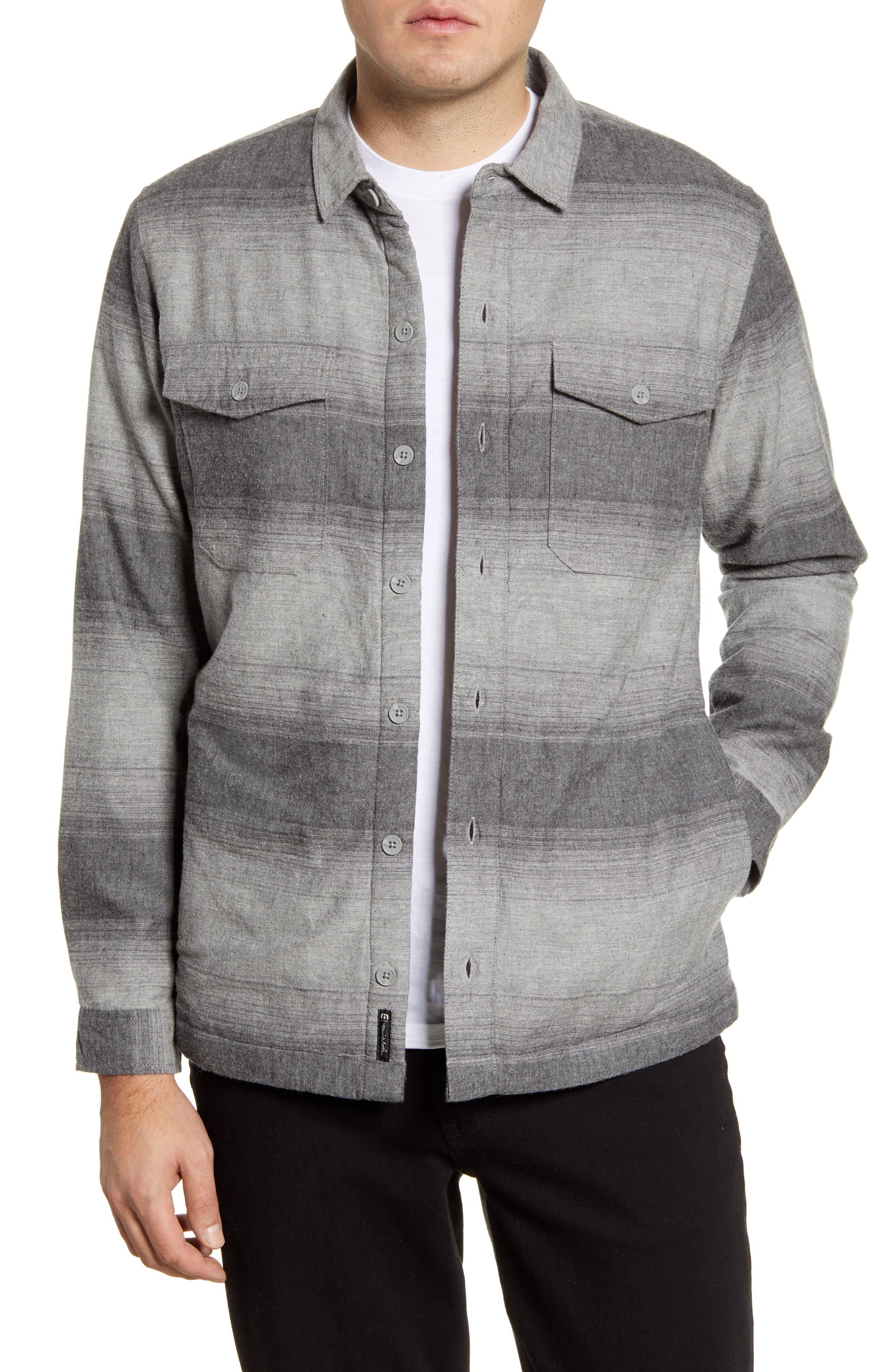 A fleece lining ensures superior warmth in a versatile shirt jacket built from a durable cotton blend. Style Name: Travismathew Towner Regular Fit Cotton Blend Shirt Jacket. Style Number: 5930049. Available in stores.