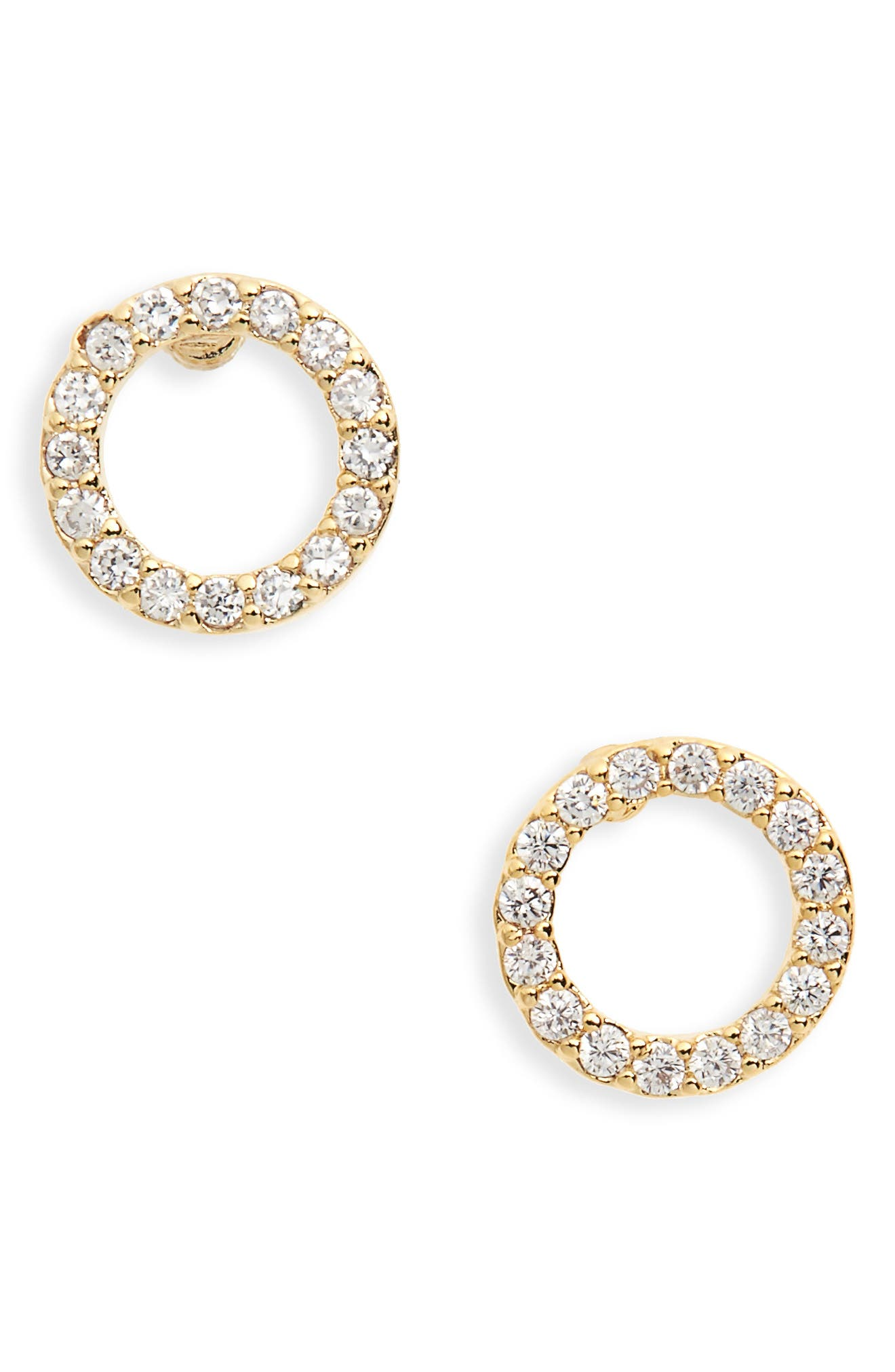 Pave Crescent Moon Stud Earrings