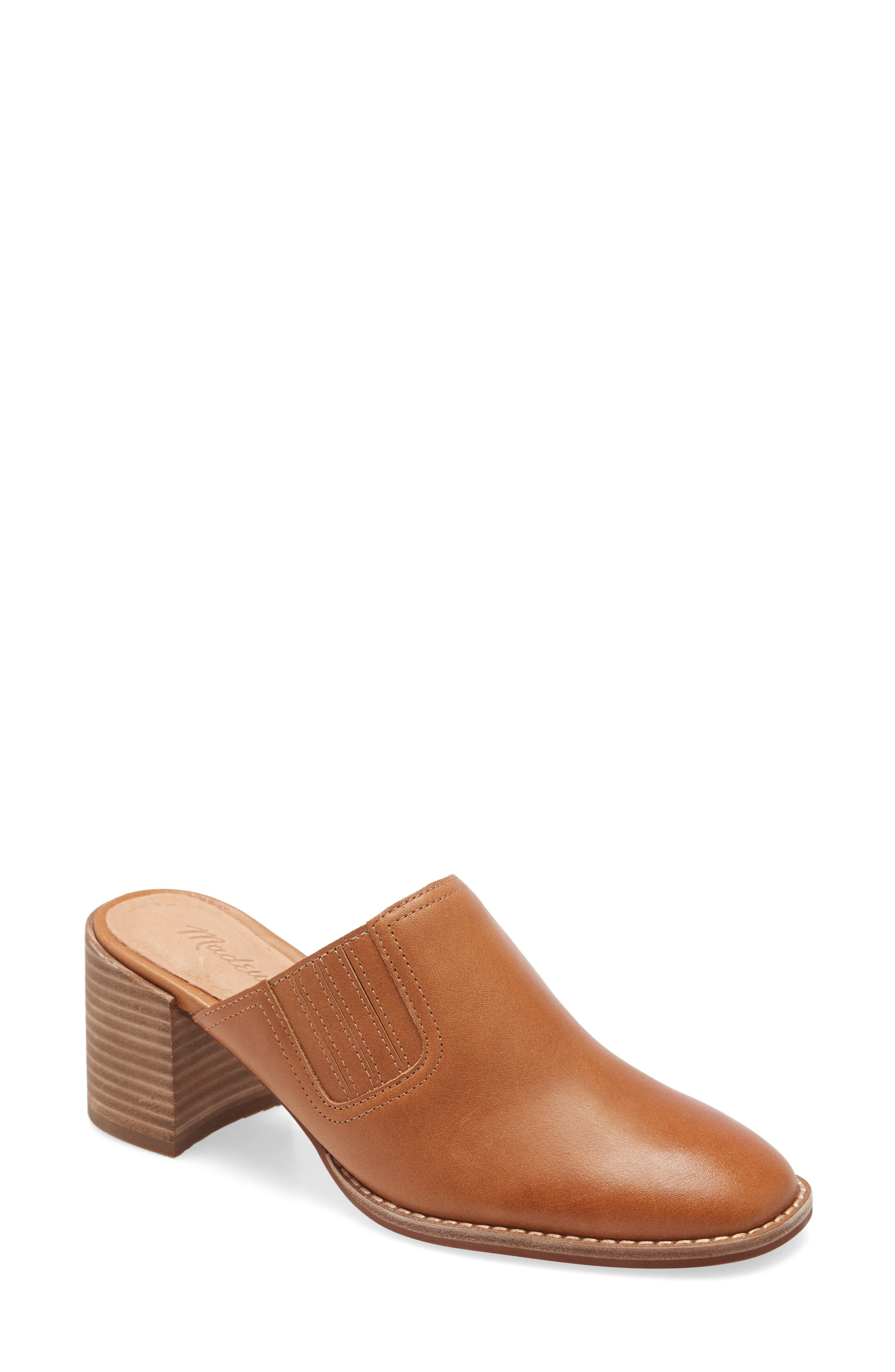 A modern take on a classic style, this leather mule has a slightly squared toe and chunky stacked heel with just enough height to keep your feet happy. Covered goring lends a slightly Western vibe and a perfectly snug fit. And, cushiness alert: Madewell\\\'s MWL Cloudlift Lite padding feels like walking on a-well, you know. Style Name: Madewell The Carey Mule (Women). Style Number: 5986469. Available in stores.
