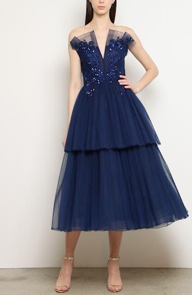 Strapless Beaded Tulle Midi Dress, video thumbnail