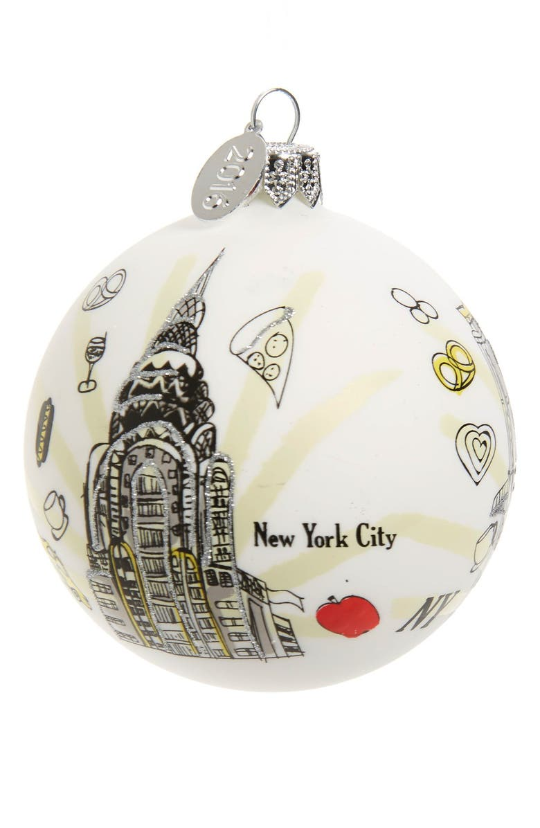 NORDSTROM at Home 'Travel' Handblown Glass Ball Ornament, Main, color, WHITE NEW YORK CITY