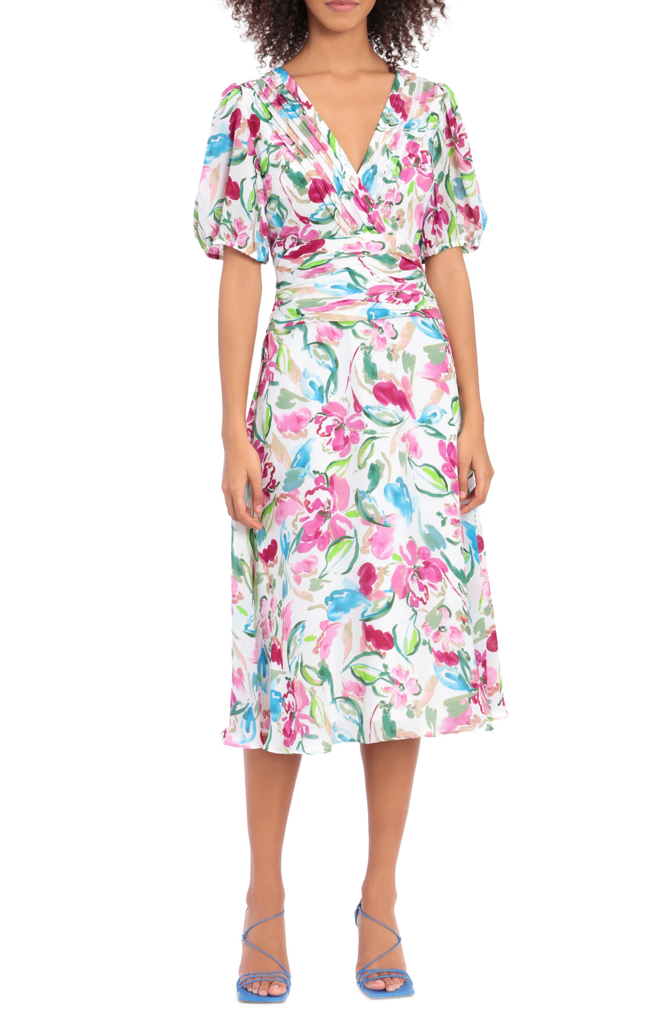 Pintuck Floral Print Midi Dress