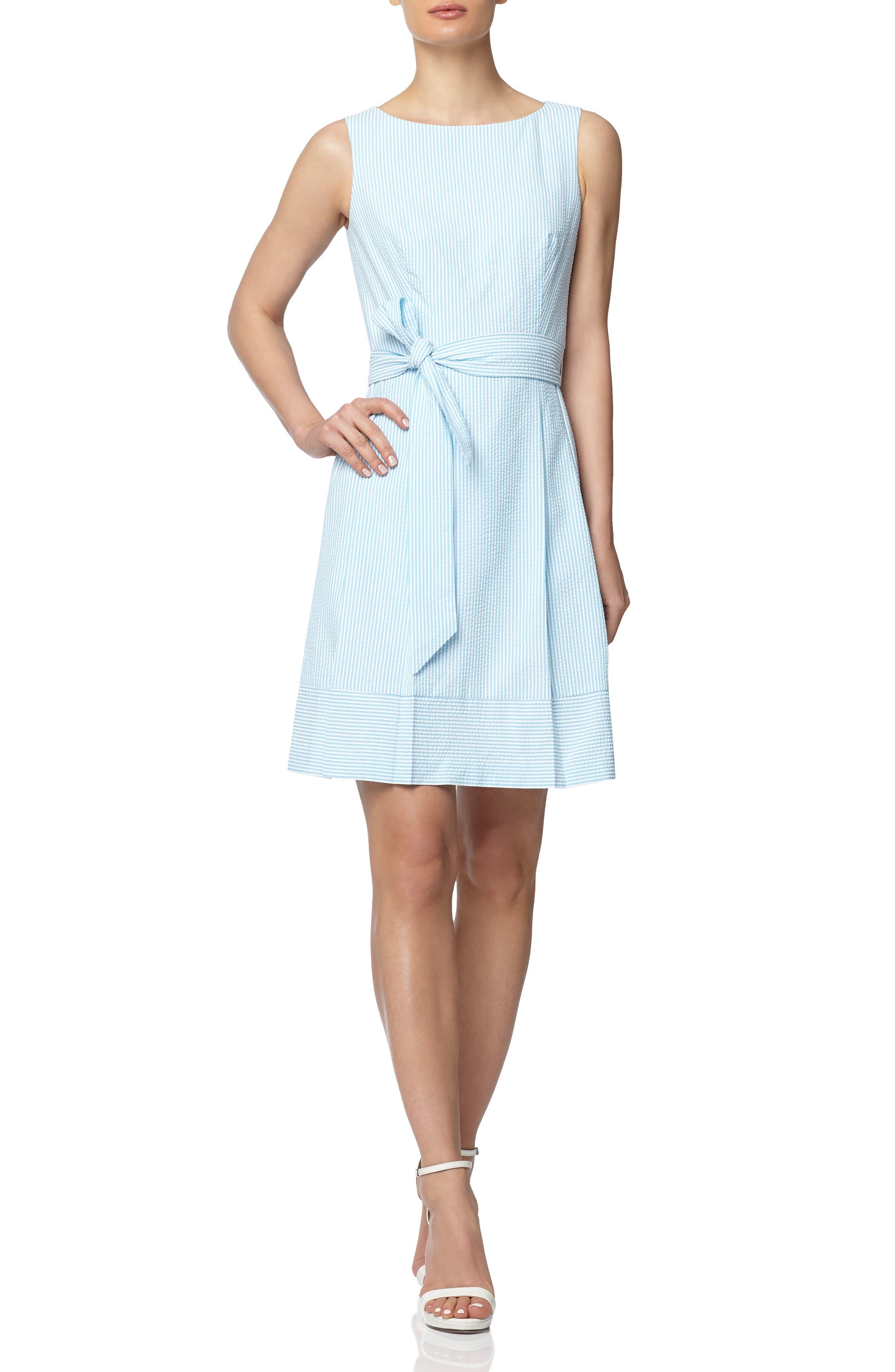 Seersucker Stripe Belted Fit & Flare Dress