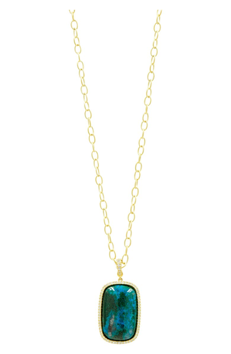 FREIDA ROTHMAN Harmony Large Stone Pendant Necklace, Main, color, GOLD/ TURQUOISE