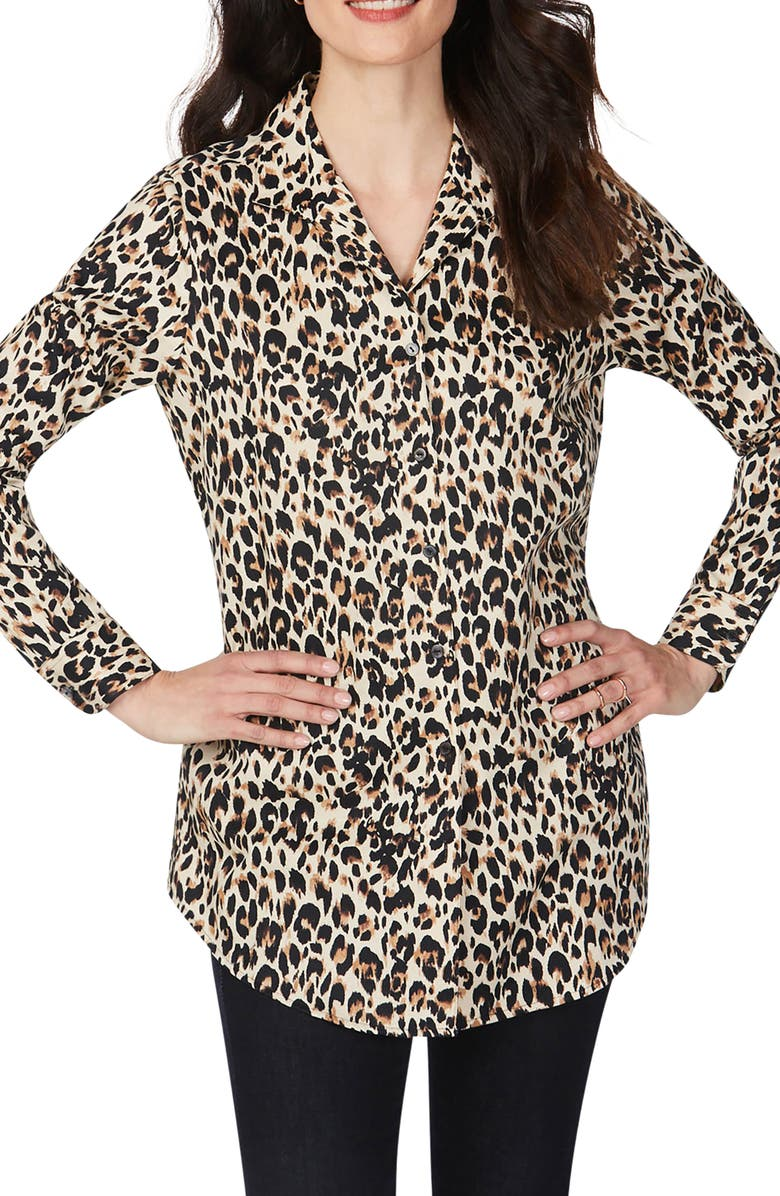FOXCROFT Lucca Evening Leopard Wrinkle-Free Tunic Shirt, Main, color, BISCOTTI
