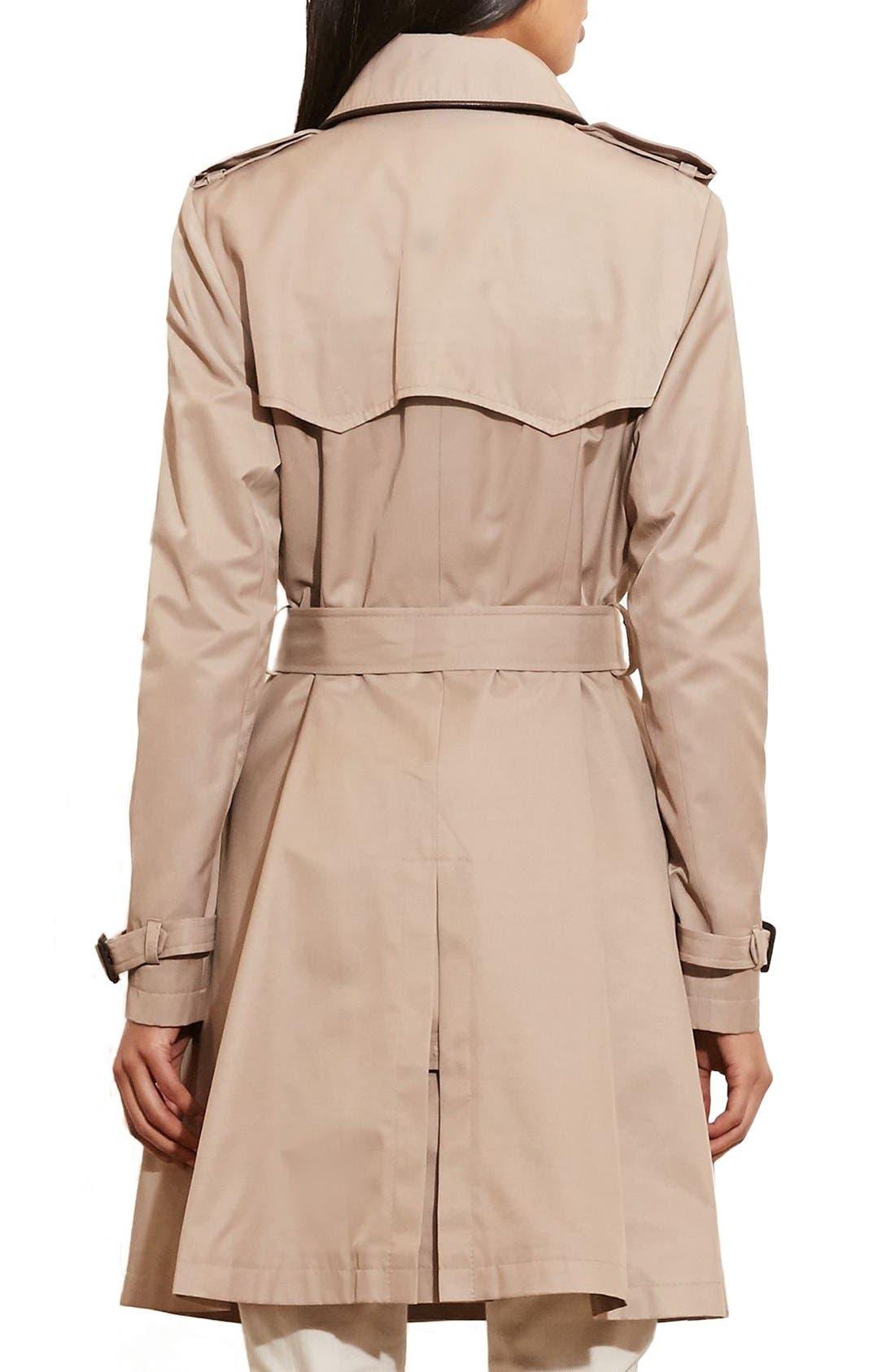,                             Faux Leather Trim Trench Coat,                             Alternate thumbnail 21, color,                             250