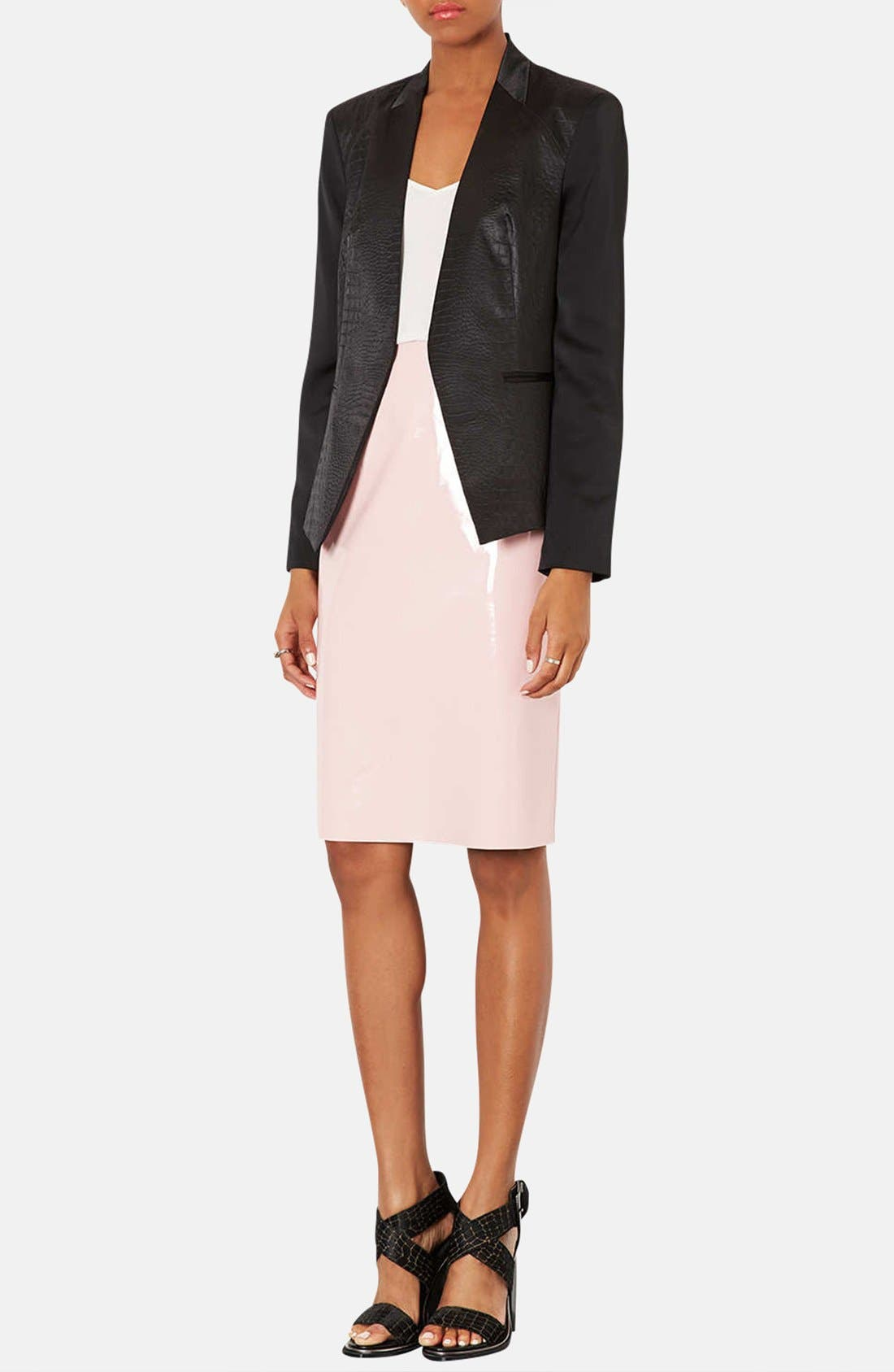 ,                             Embossed Faux Leather Blazer,                             Alternate thumbnail 3, color,                             001