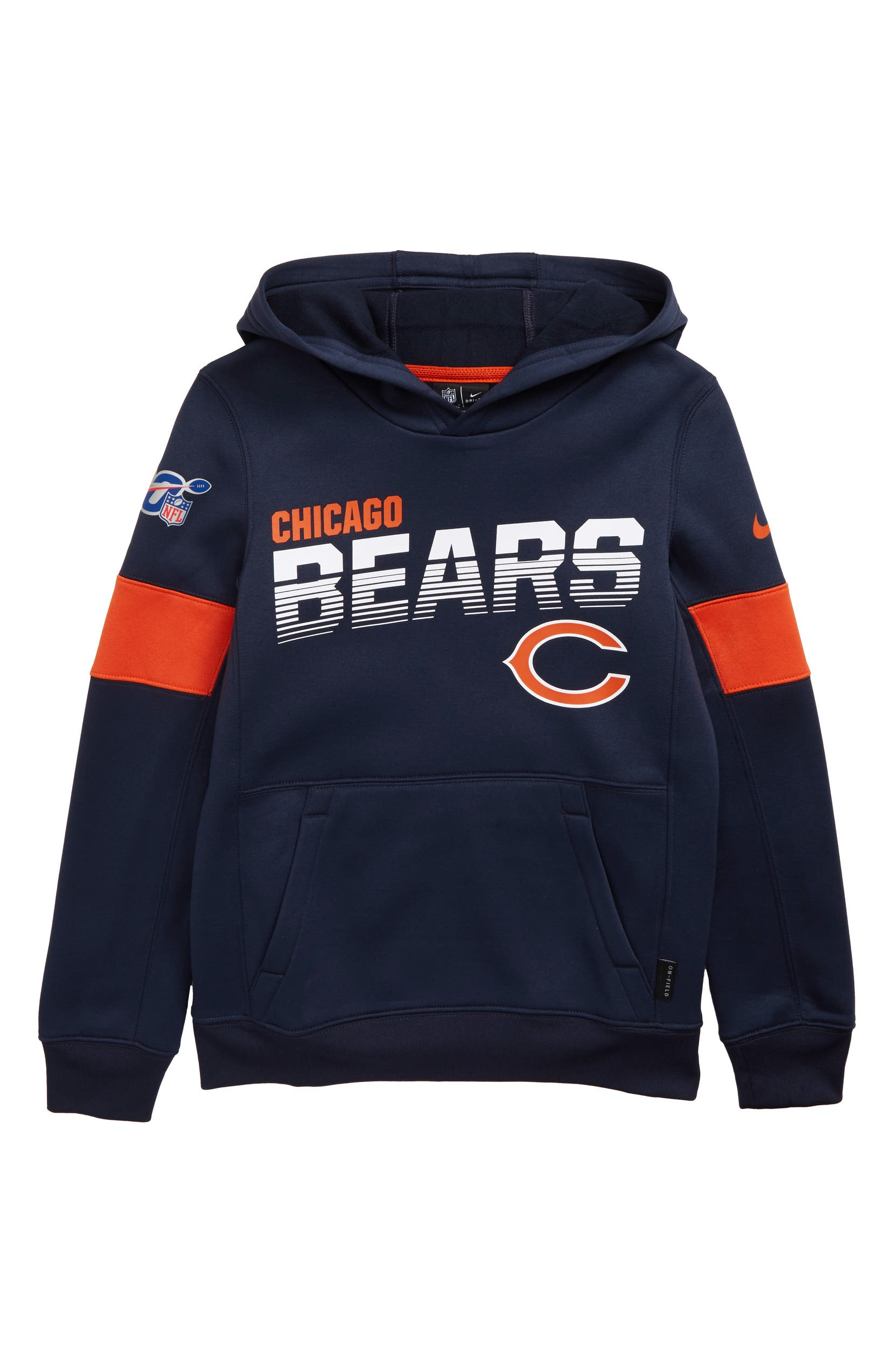 b221f326 Nike NFL Logo Chicago Bears Therma Dri-FIT Hoodie (Big Boys) | Nordstrom