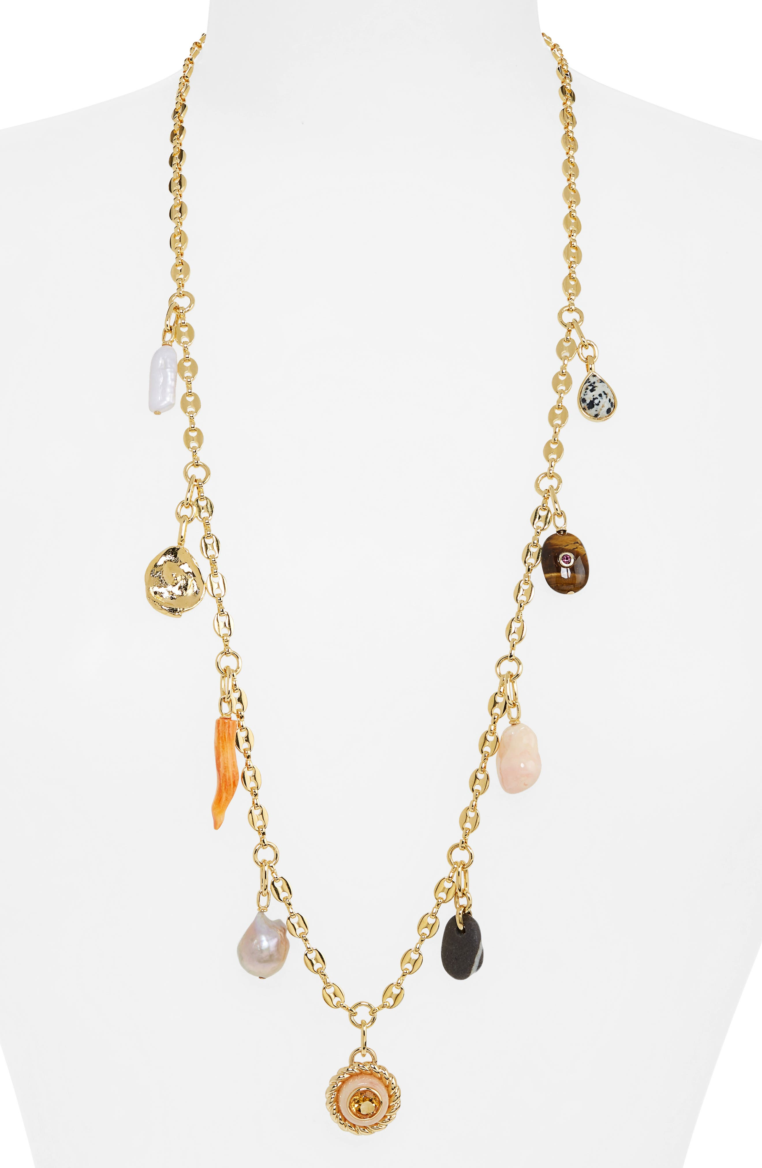 Lucky Charm Freshwater Pearl Station Necklace