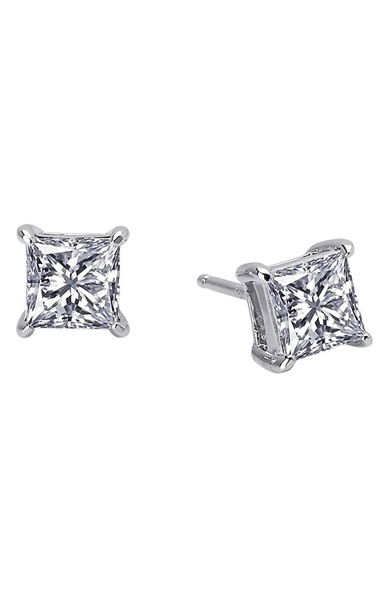 LAFONN 'Lassaire' Princess Cut Stud Earrings, Main, color, SILVER