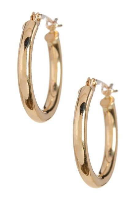 Image of KARAT RUSH 14K Yellow Gold 15mm Shiny Round Tube Hoop Earrings
