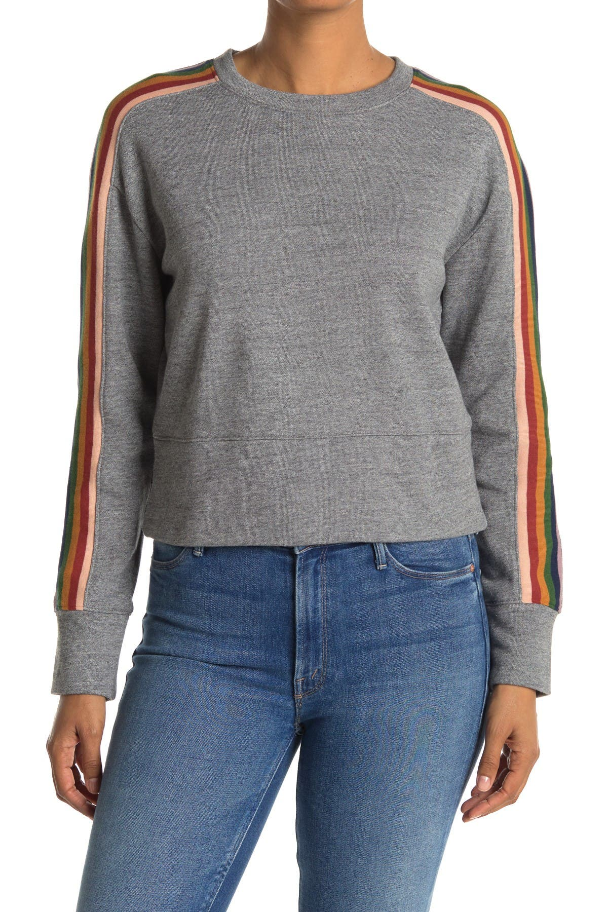 Image of Madewell Rainbow Stripe Crop Sweater