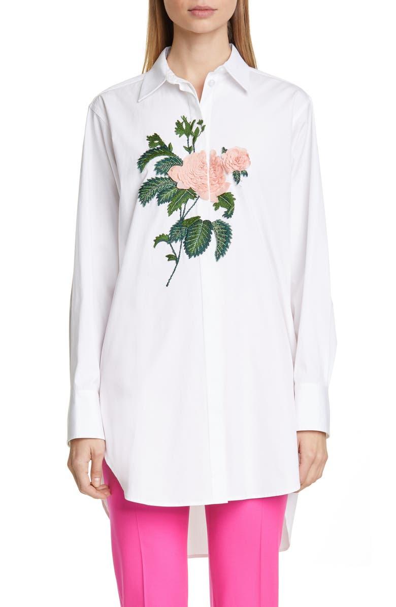 OSCAR DE LA RENTA Rose Embroidered Poplin Shirt, Main, color, WHITE/ WHITE