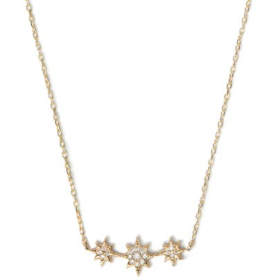 Anzie North Star Curve Diamond Pave Necklace