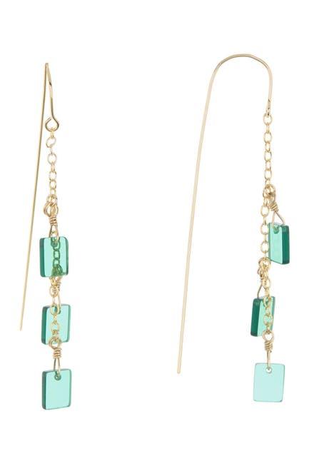 Image of Rivka Friedman 18K Gold Clad Green Crystal Drop Threader Earrings