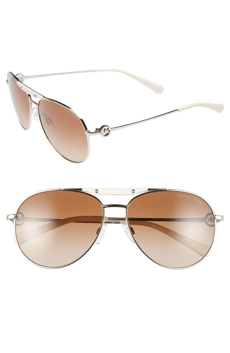 MICHAEL KORS 58mm Aviator Sunglasses, Main, color, 040