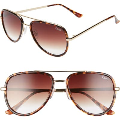 Quay Australia X Jlo All In 52Mm Mini Aviator Sunglasses - Tortoise/ Brown Fade