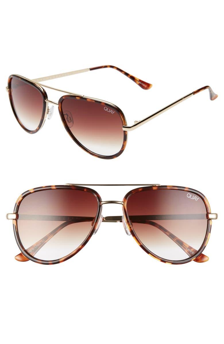 QUAY AUSTRALIA All In 52mm Mini Aviator Sunglasses, Main, color, TORTOISE/ BROWN FADE