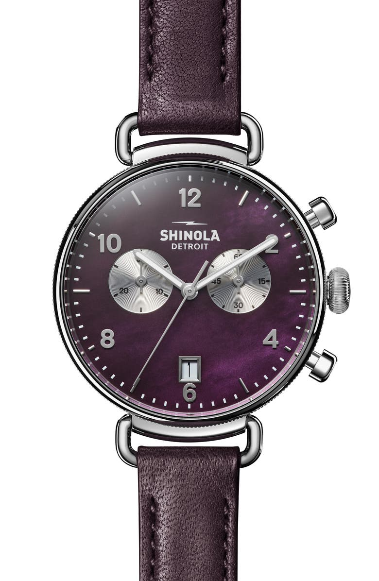 SHINOLA 'The Canfield Chrono' Leather Strap Watch, 38mm, Main, color, PURPLE/ PLUM MOP/ SILVER