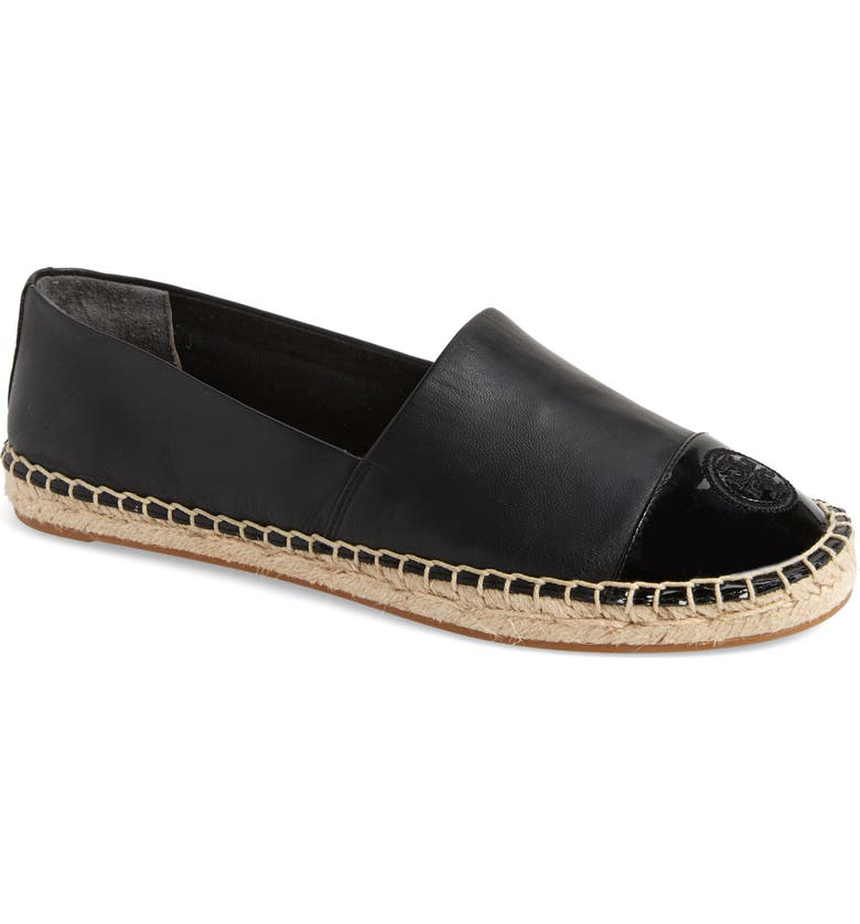TORY BURCH Colorblock Espadrille Flat, Main, color, PERFECT BLACK/ PERFECT BLACK