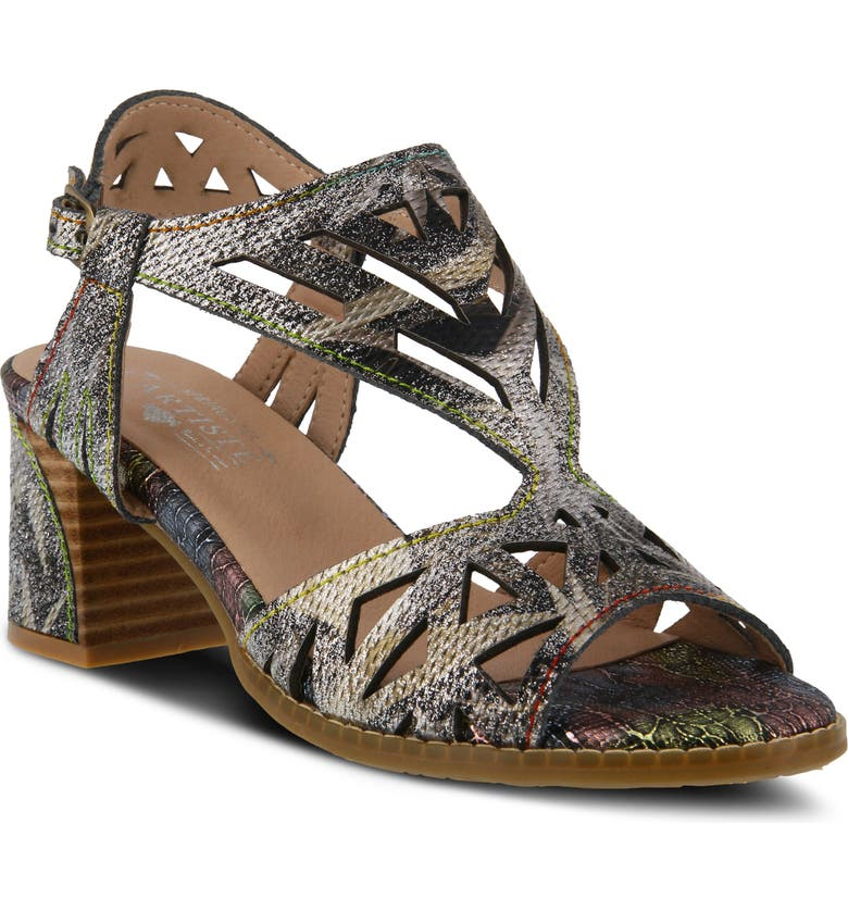 L'ARTISTE Calpie Sandal, Main, color, BLACK MULTI LEATHER