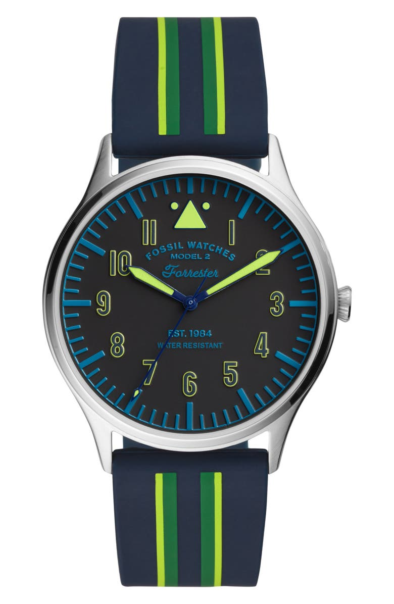 FOSSIL Forrester Round Silicone Strap Watch, 42mm, Main, color, BLUE/ BLACK/ SILVER