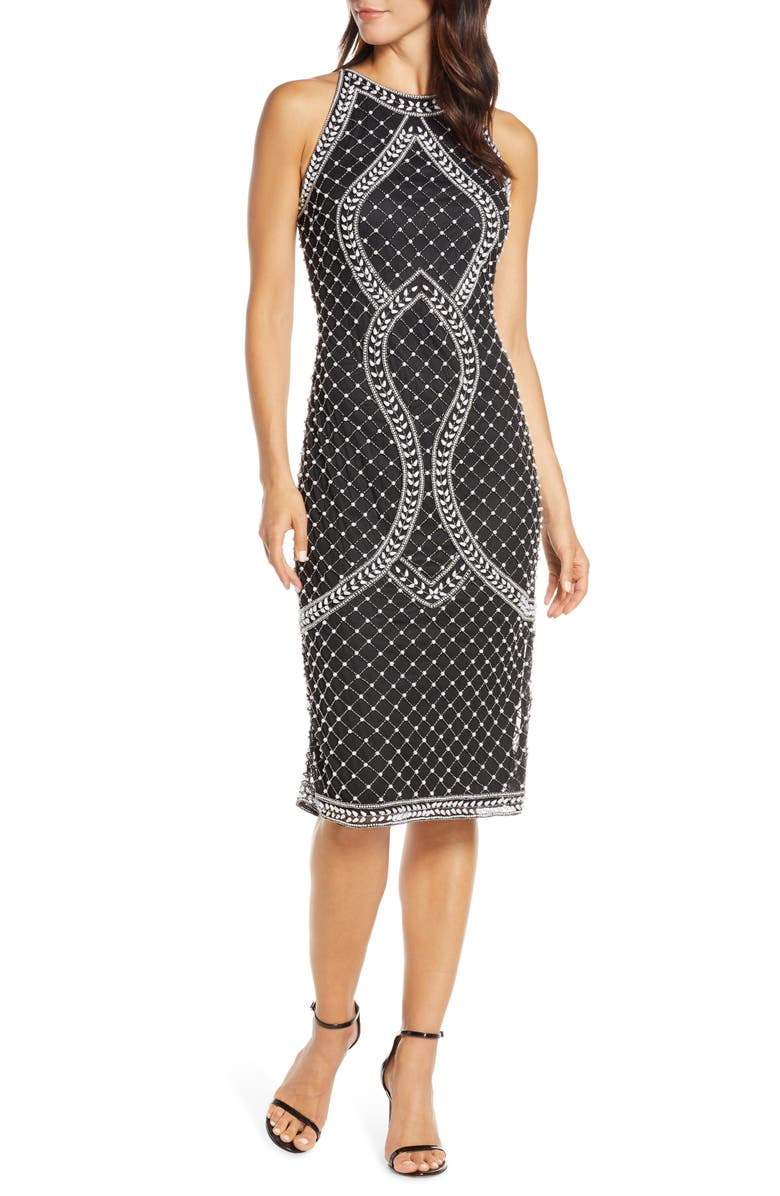 PISARRO NIGHTS Middy Pearly Beaded Sheath Dress, Main, color, BLACK