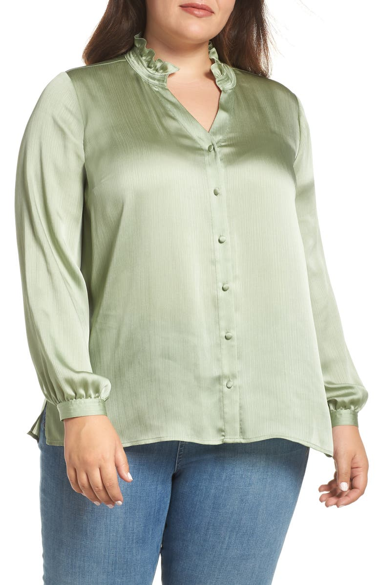 VINCE CAMUTO Ruffle Neck Blouse, Main, color, 366