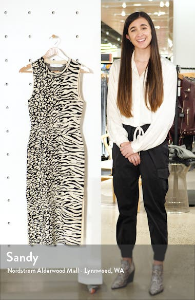 Zebra & Leopard Jacquard Midi Dress, sales video thumbnail