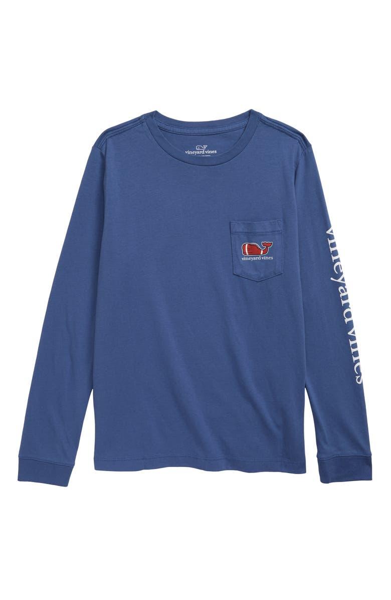 VINEYARD VINES Football Whale Pocket T-Shirt, Main, color, MOONSHINE