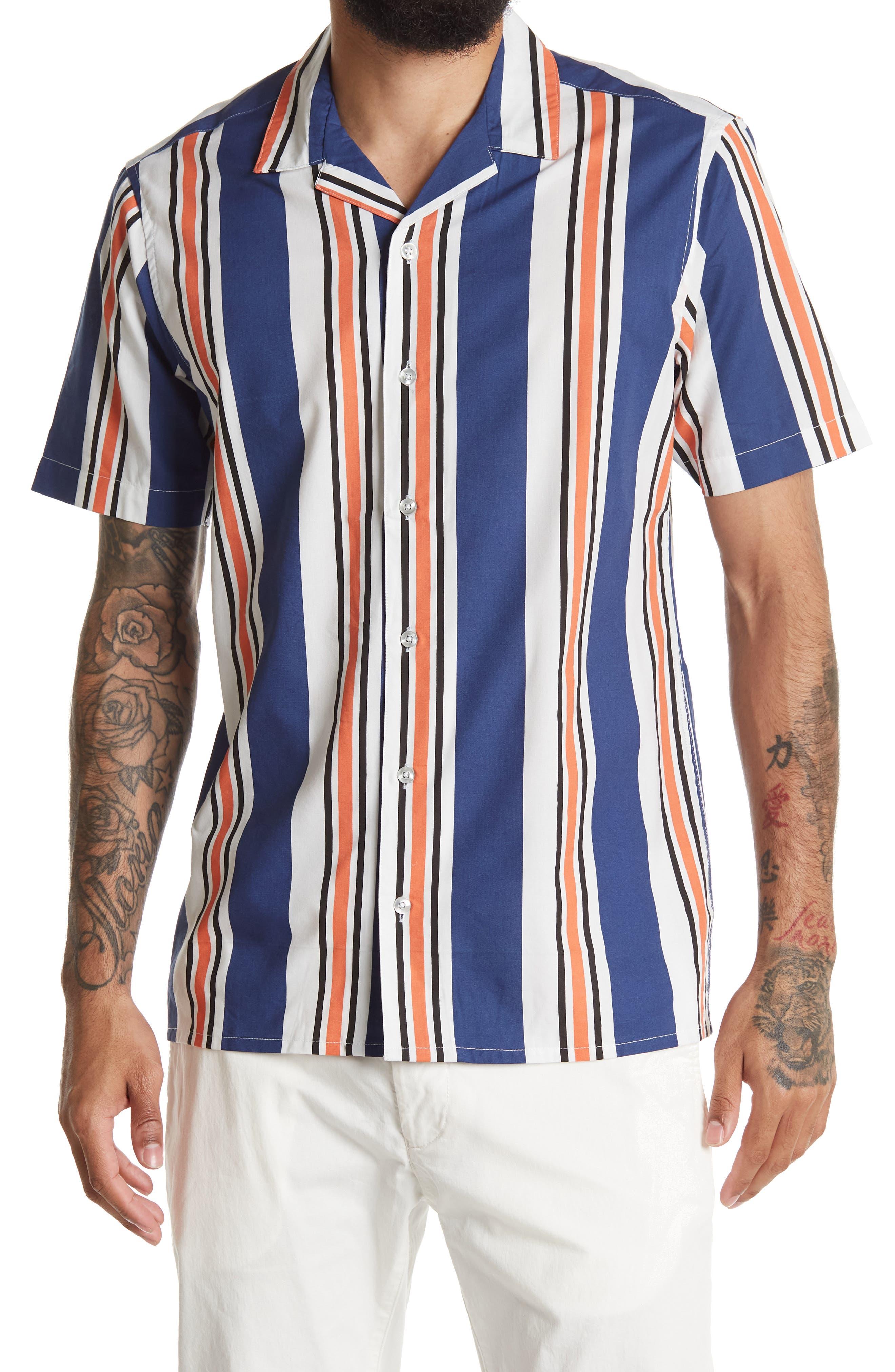 1960s Men's Clothing Burnside Stripe Print Regular Fit Shirt Size XL - Ecru at Nordstrom Rack $19.97 AT vintagedancer.com