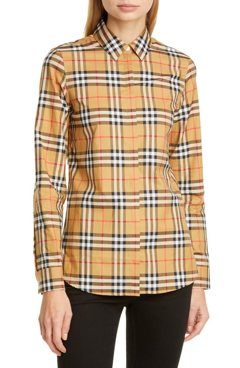 BURBERRY Crow Vintage Check Cotton Shirt, Main, color, ANTIQUE YEL IP CHK