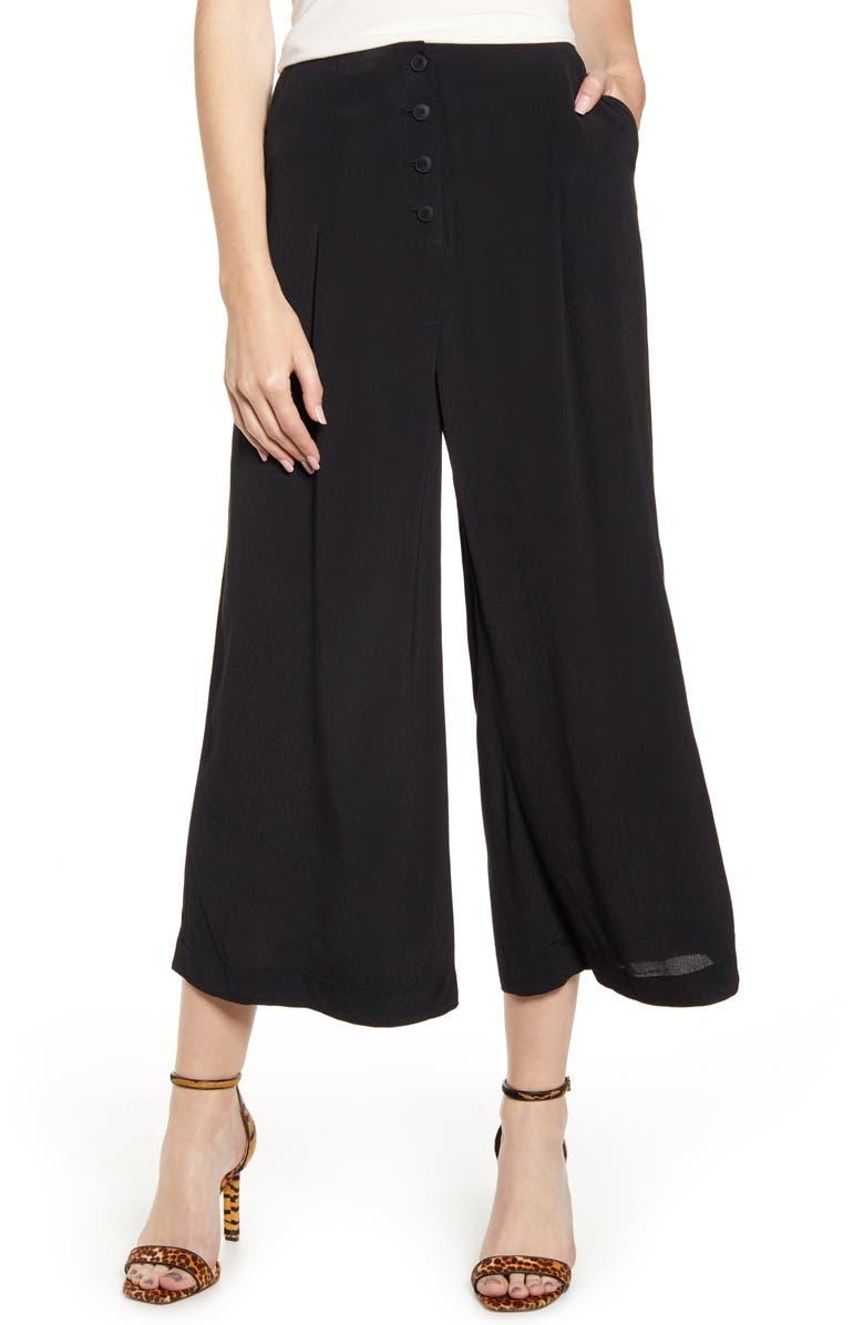 CHELSEA28 Front Button Crop Pants, Main, color, BLACK