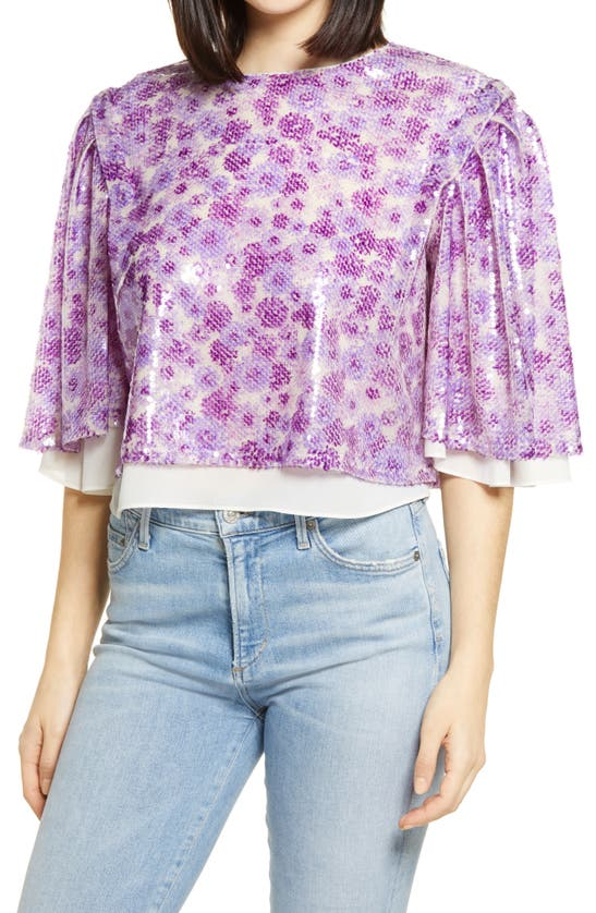 ENDLESS ROSE Tops FLORAL PRINT SEQUIN TOP