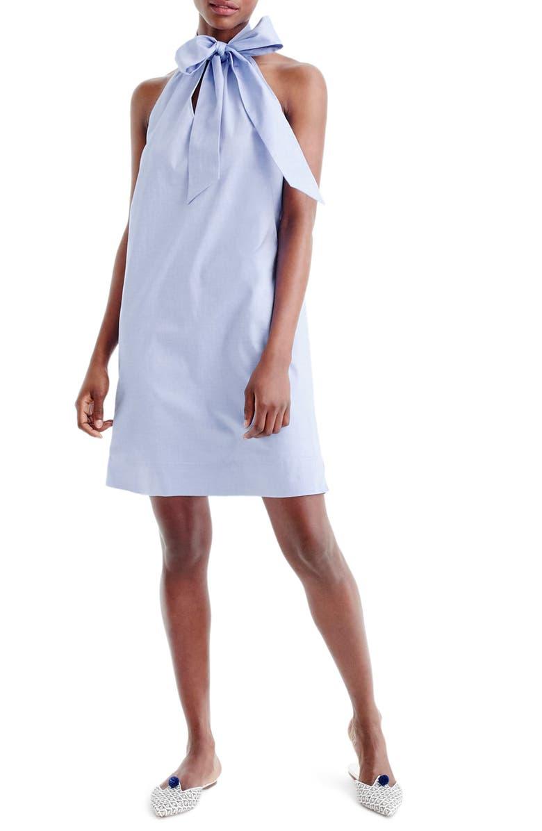 J.CREW Oxford Cotton Tie Neck Dress, Main, color, 460