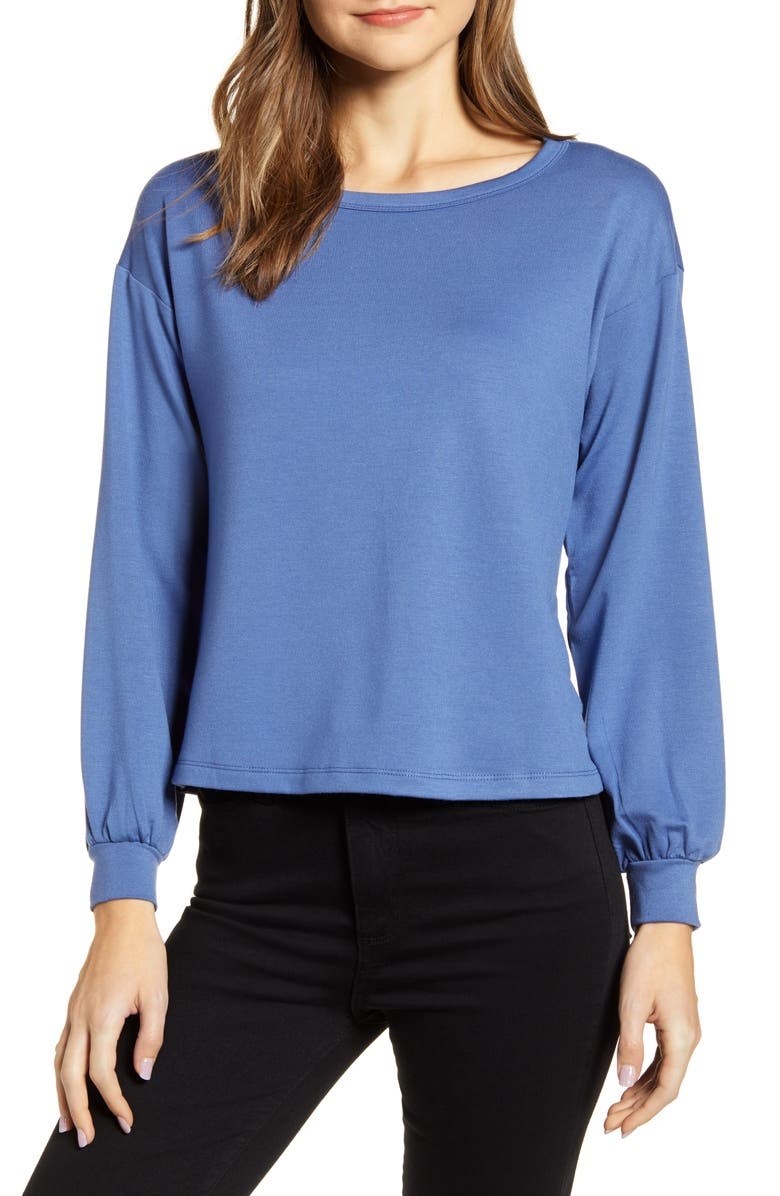 BOBEAU Bishop Sleeve Pullover, Main, color, DUTCH BLUE