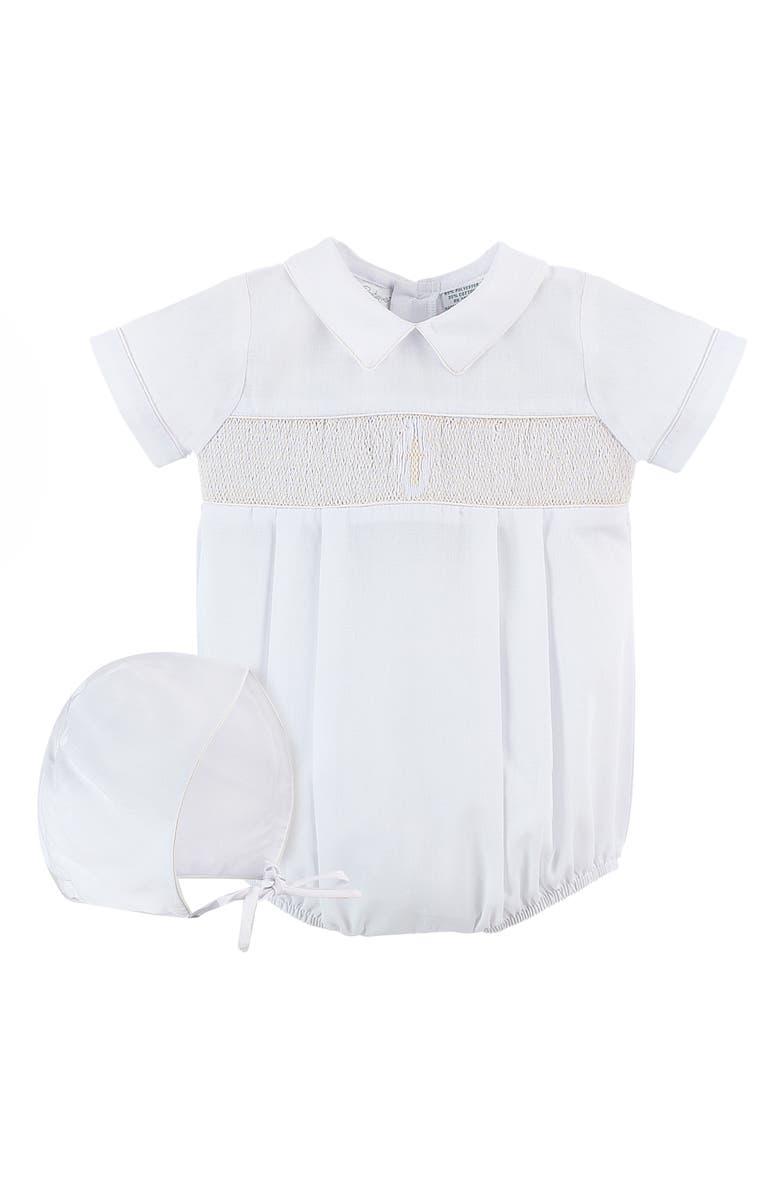 CARRIAGE BOUTIQUE Smocked Christening Bodysuit & Bonnet Set, Main, color, WHITE