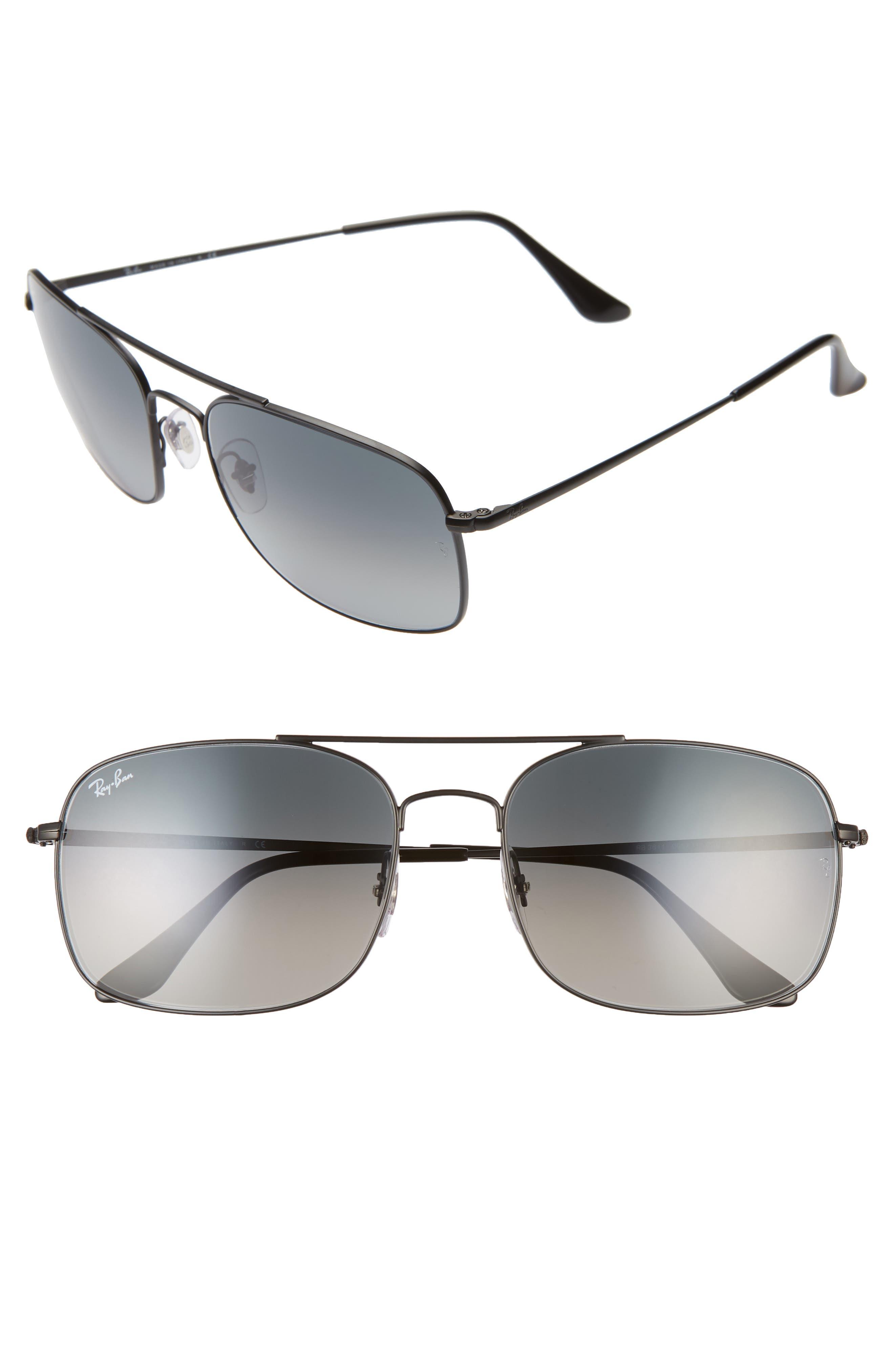Ray-Ban 60Mm Aviator Sunglasses - Matte Black/ Black Gradient
