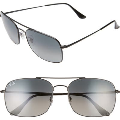 Ray-Ban 60Mm Aviator Sunglasses - Matte Black/ Black Gradient
