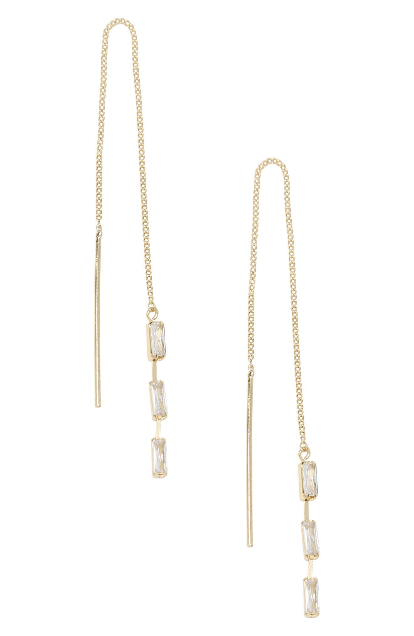 Crystal Chain Threader Earrings