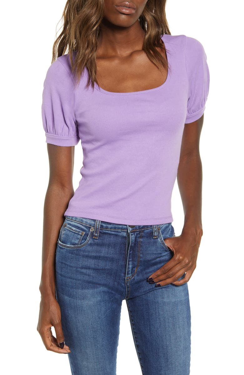 BP. Square Neck Tee, Main, color, PURPLE HYACINTH