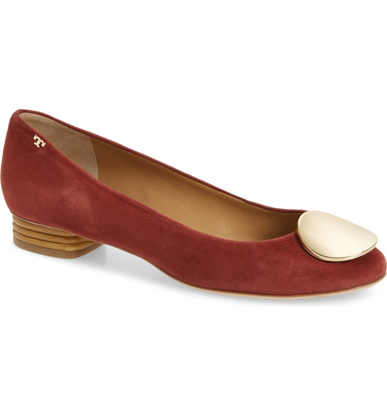 TORY BURCH Patos Medallion Flat, Main, color, AGED MALBEC SUEDE