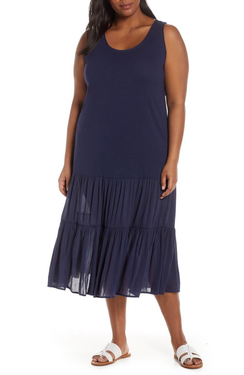 CASLON<SUP>®</SUP> Mix Media Drop Waist Midi Dress, Main, color, NAVY PEACOAT
